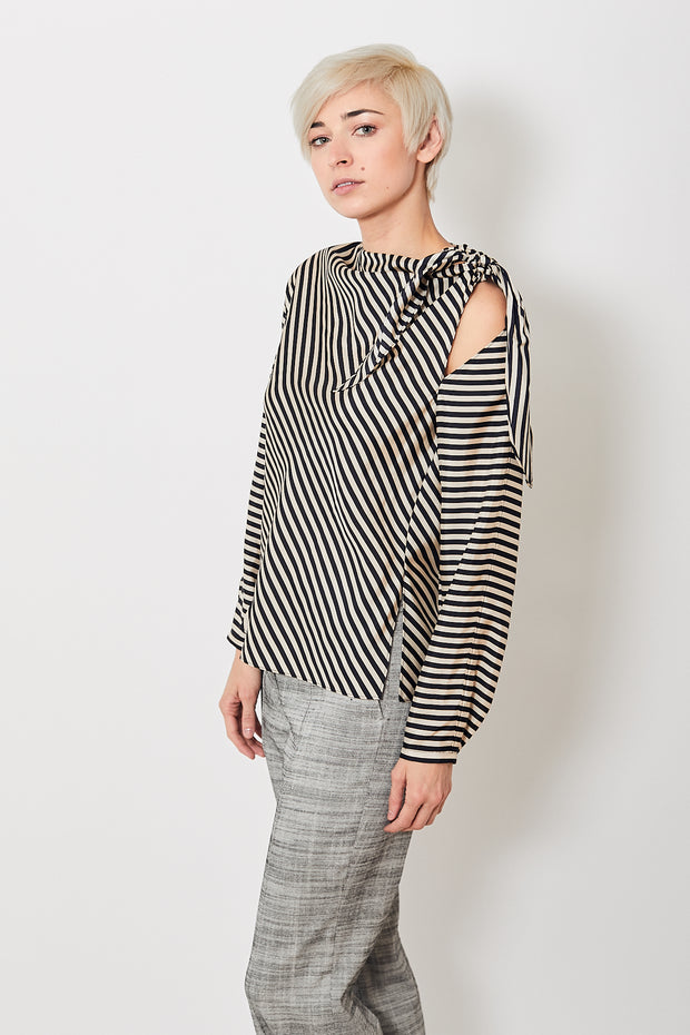 Dorothee Schumacher Striped Sensation Open Shoulder Blouse