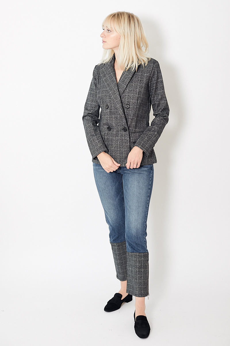 Eight Dreams Double Breasted Blazer in Brushed Italian Plaid