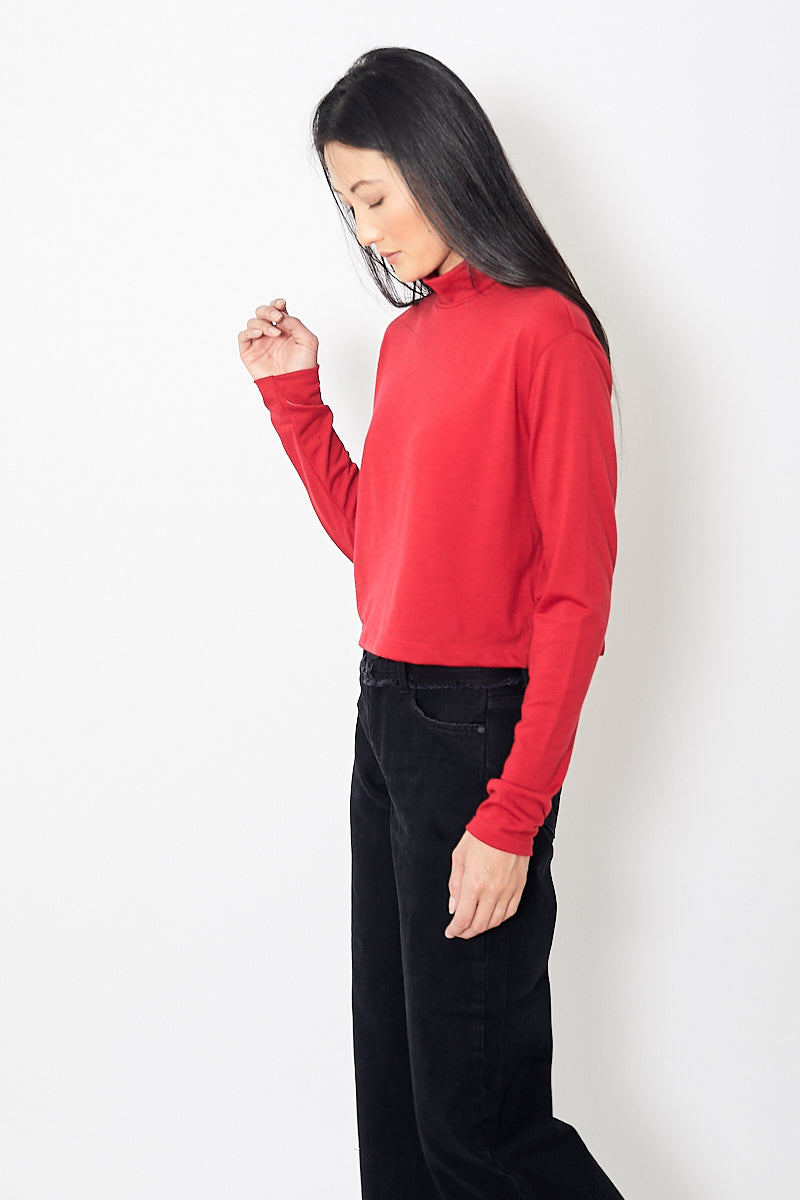 Eight Dreams Highneck Crop Top in Italian Wool