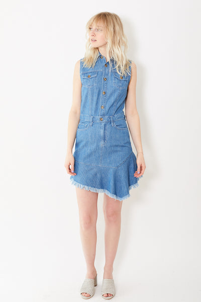 Eight Dreams Marais Asymmetric Dress in Japanese Chambray