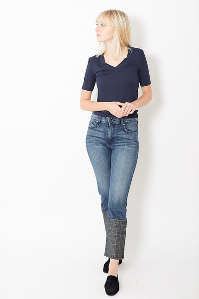 Eight Dreams Plaid Block Straight Jeans