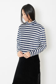 Eight Dreams Striped High Neck Velour Crop Top