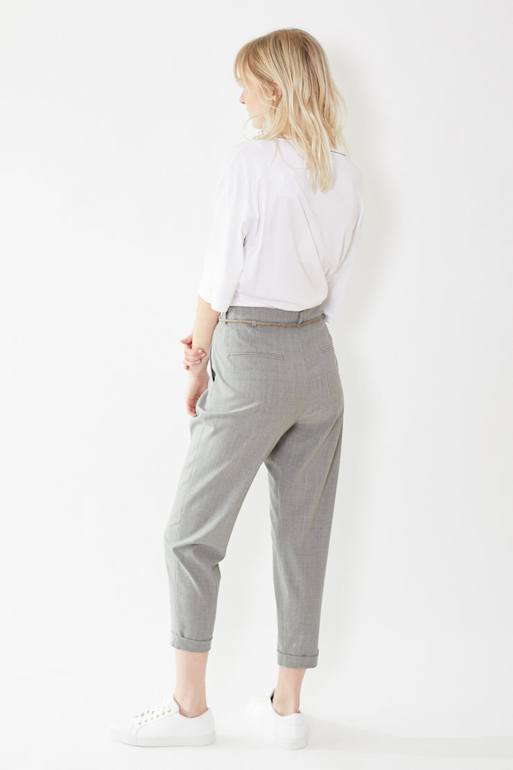 Eleventy Cuffed Trouser With Belt