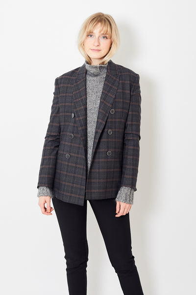 Eleventy Double Breasted Plaid Jacket