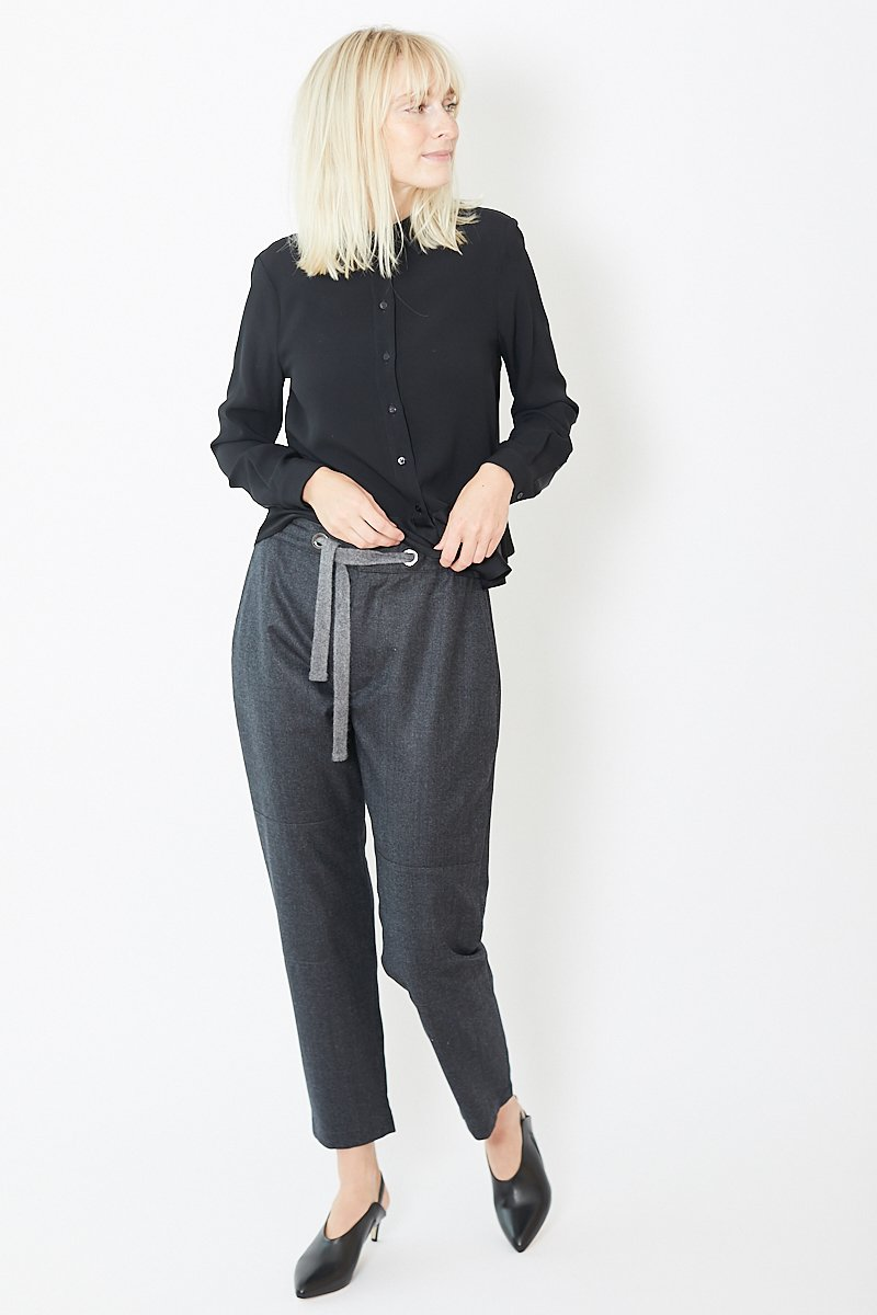 Eleventy Light Wool Drawstring Pant