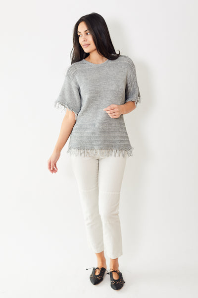Eleventy Open Knit With Fringe Detail
