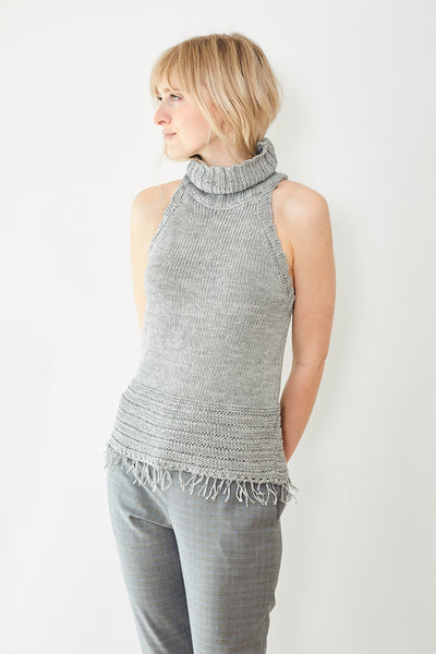 Eleventy Sleeveless Knit Top With Fringe Detail