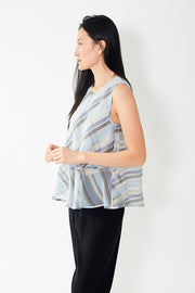 Eleventy Sleeveless Silk Striped Blouse