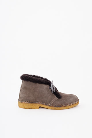 Eleventy Suede Desert Boot Rabbit Fur Trim