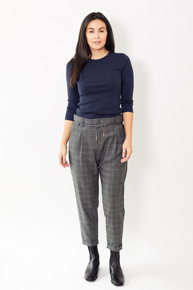 Eleventy Windowpane Pant w/ Thin Belt