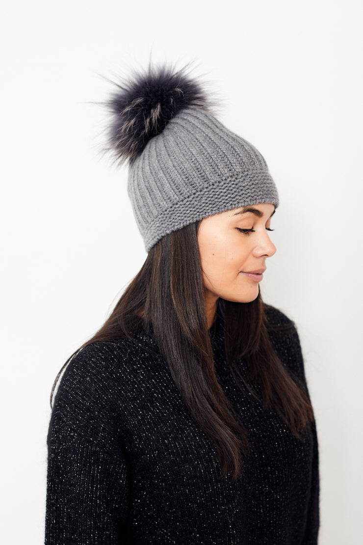 Raffaello Bettini English Stitch Cashmere Cap w/ Fox Pom