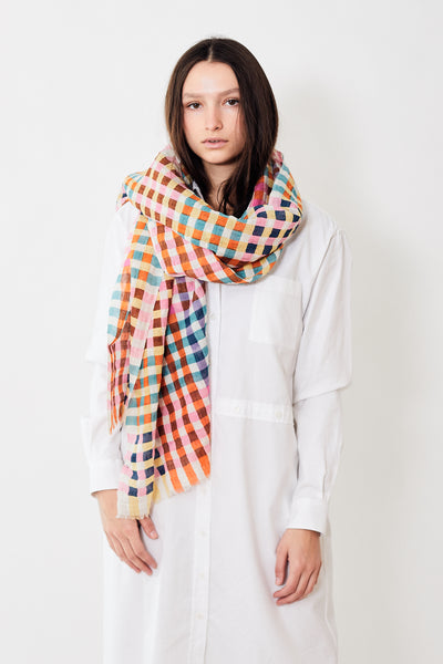Épice Linen Cotton Multi Check Stole
