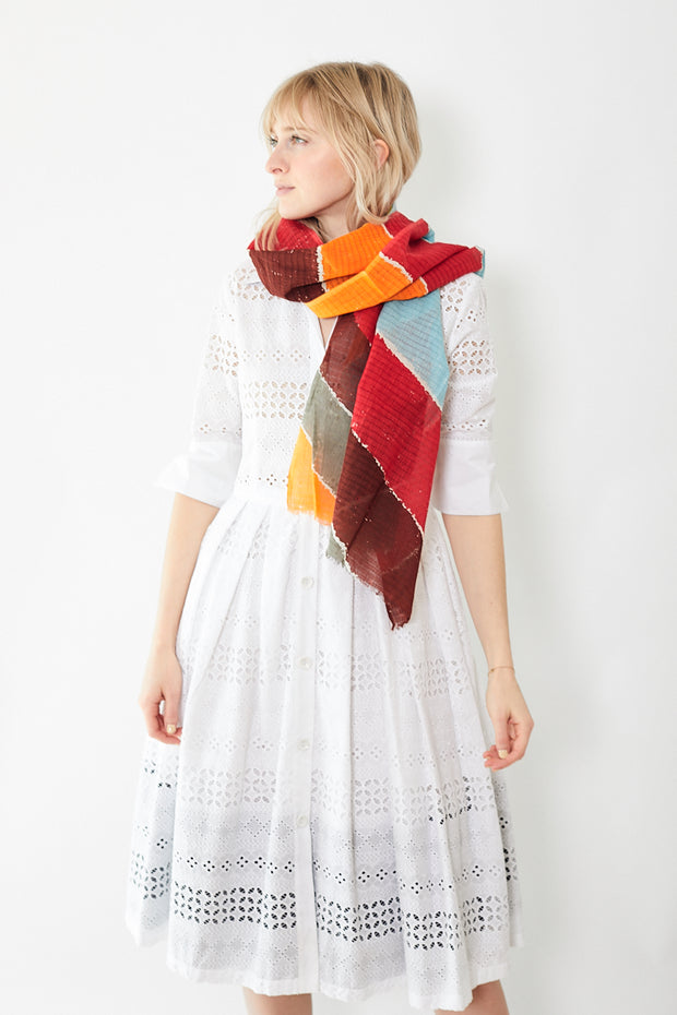 Épice Wide Dotted Stripe Scarf