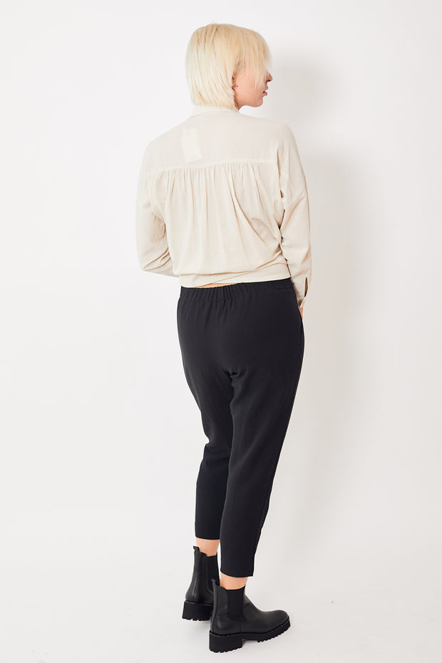 Evam Eva Cotton Wool Narrow Tuck Pants