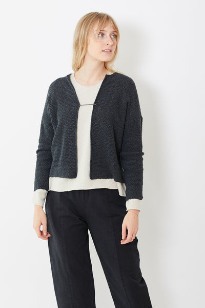Evam Eva Silk Wool Moss Stitch Cardigan