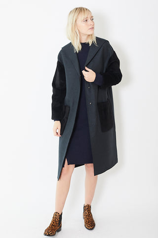Harris Wharf London Oversized Hooded Coat w/ Faux Fur