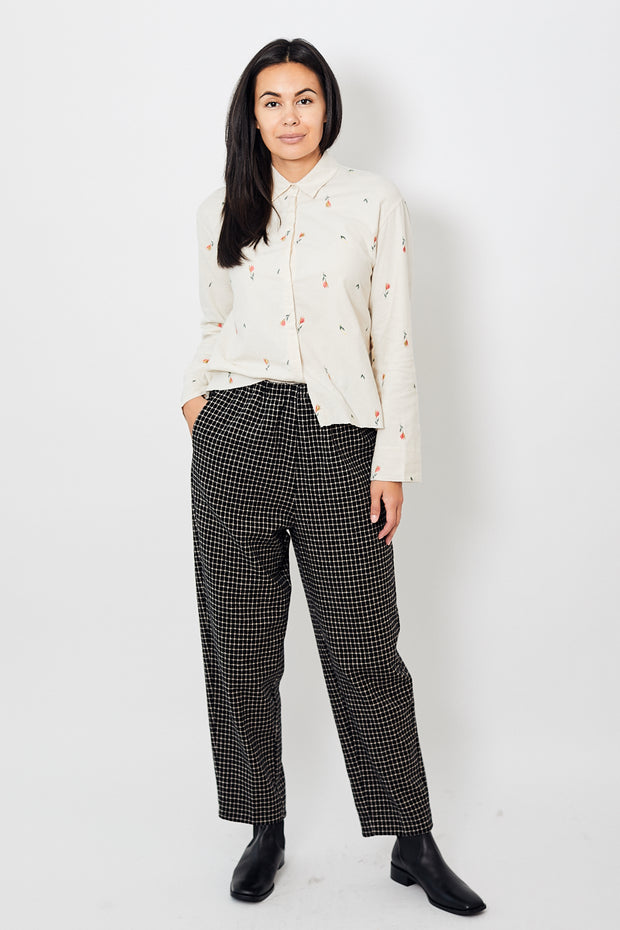 Forte Forte Wool Check Pants with Elastic