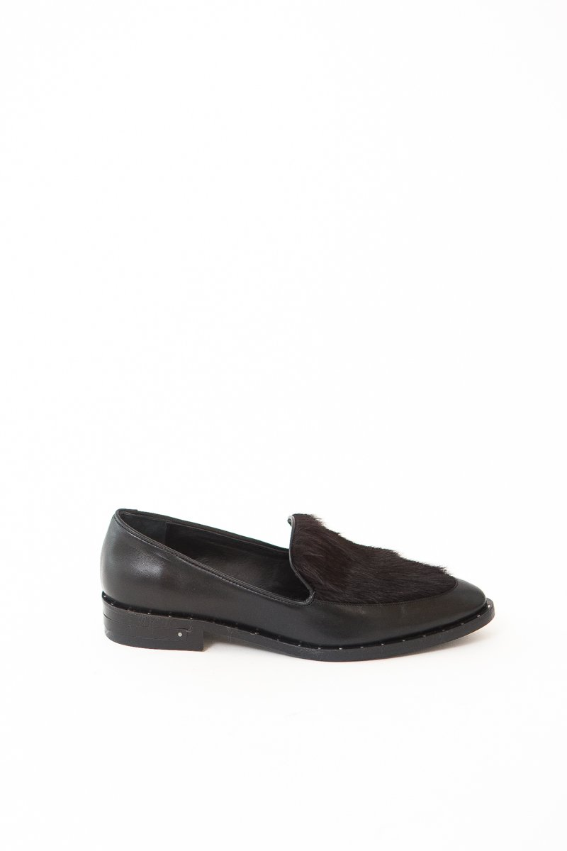 Frēda Salvador Light Moccasin Loafer with Long Wine Haircalf