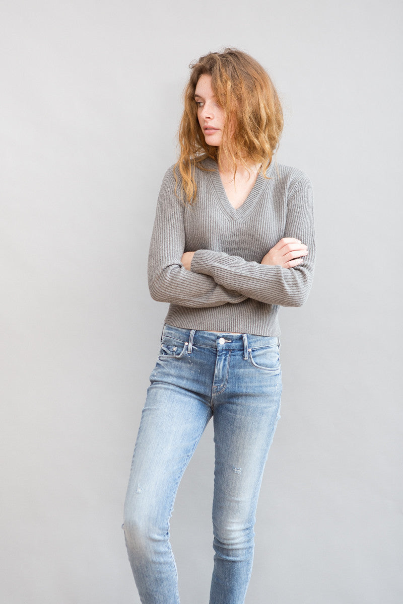 Organic by John Patrick Cropped V Neck Sweater - grethen house