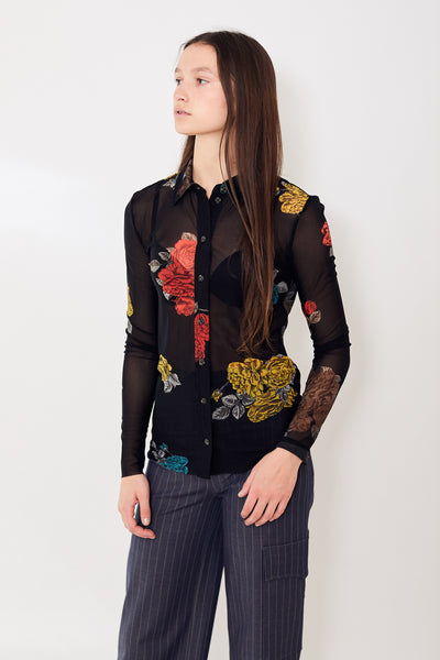 Ganni Floral Print Mesh Button Down Shirt