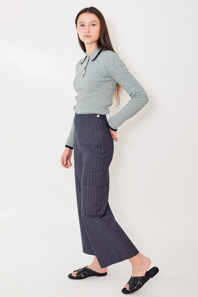 Ganni Highwaisted Striped Crop Pants