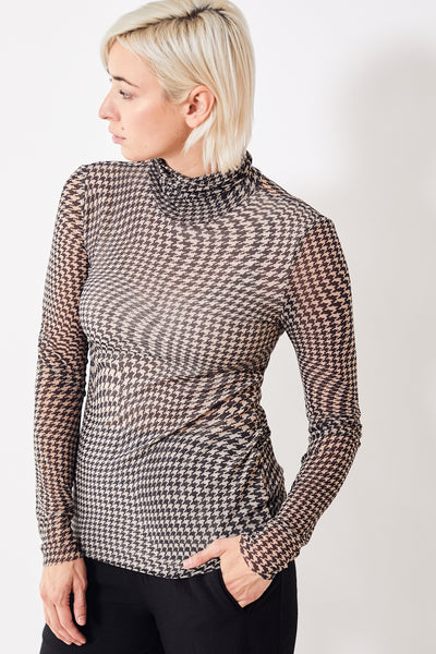 Ganni Printed Mesh Rollneck Top