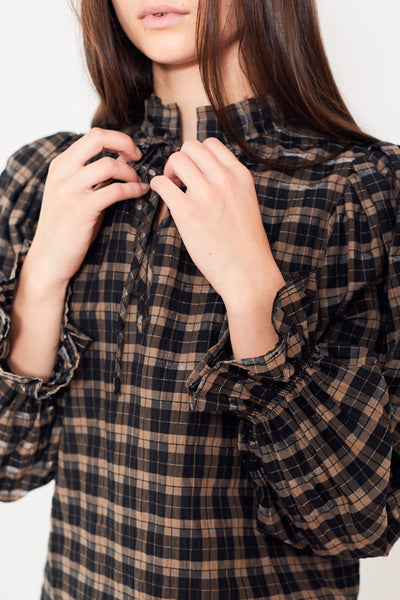 Ganni Seersucker Check Blouse