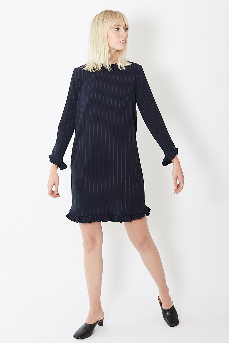 Ganni Clark Pinstripe Mini Dress