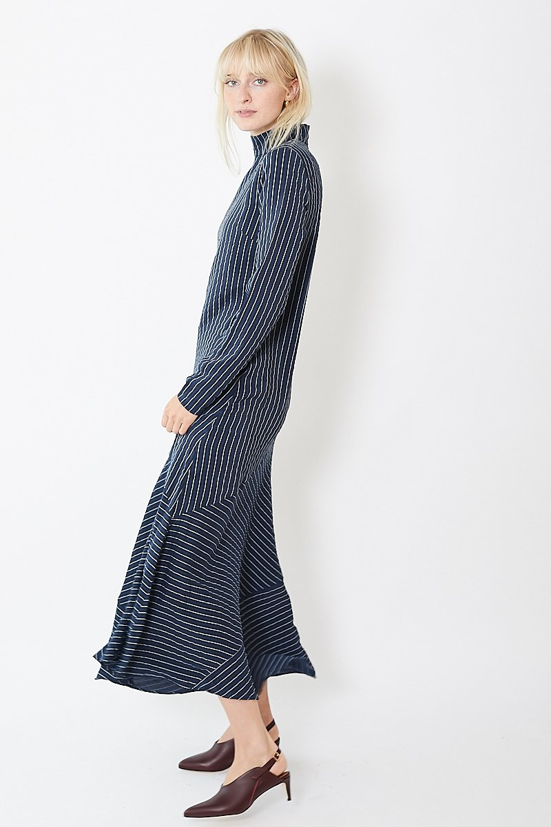 Ganni Lynch Seersucker Pinstripe Dress