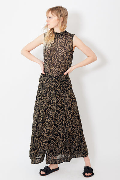 Ganni Printed Georgette Long Skirt