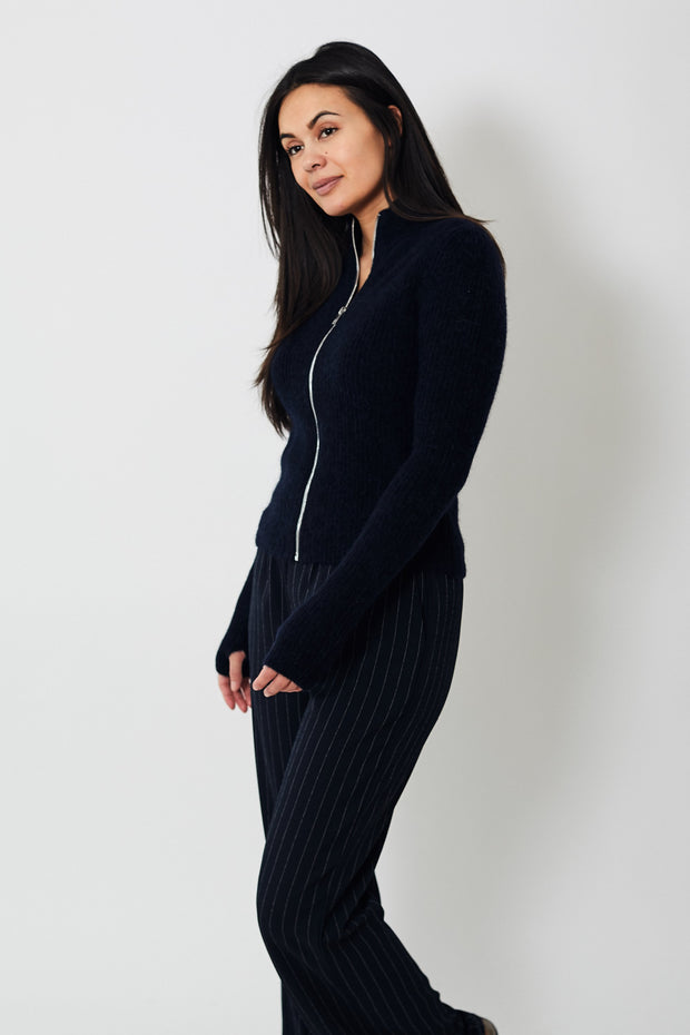 Ganni Soft Wool Knit Zip Up Cardigan