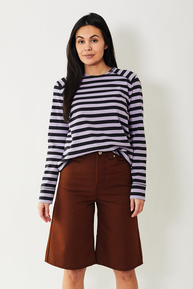 Ganni Striped Cotton Jersey L/S Tee Violet Tulip