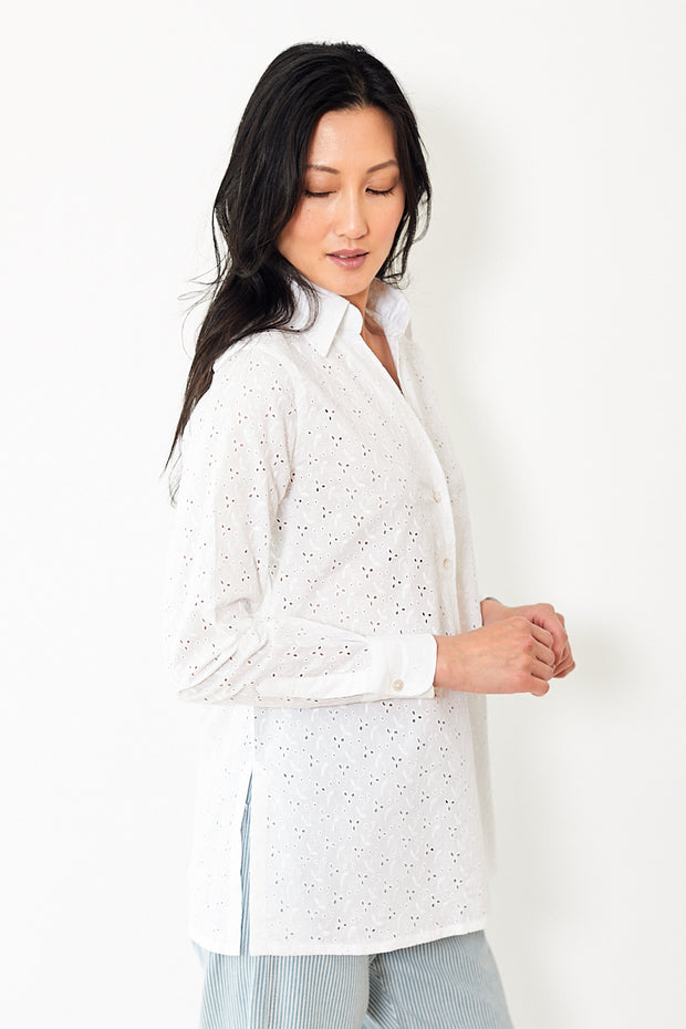 Giangi Barbara White Eyelet Shirt
