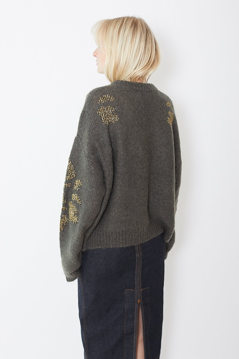 Saralam Crewneck Sweater w/ Gold Emb