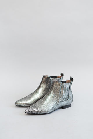 Hudson London Reine Lizard Silver Boot - grethen house