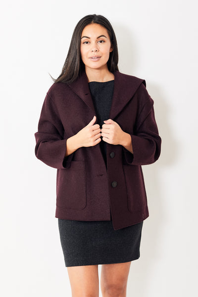Harris Wharf Oversized Hooded Pressed Wool Jacket