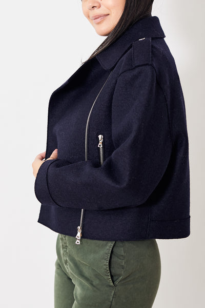 Harris Wharf Oversized Pressed Wool Biker Jacket