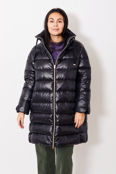 Herno Drop Shoulder Long Puffer w/Grommet Neck Detail