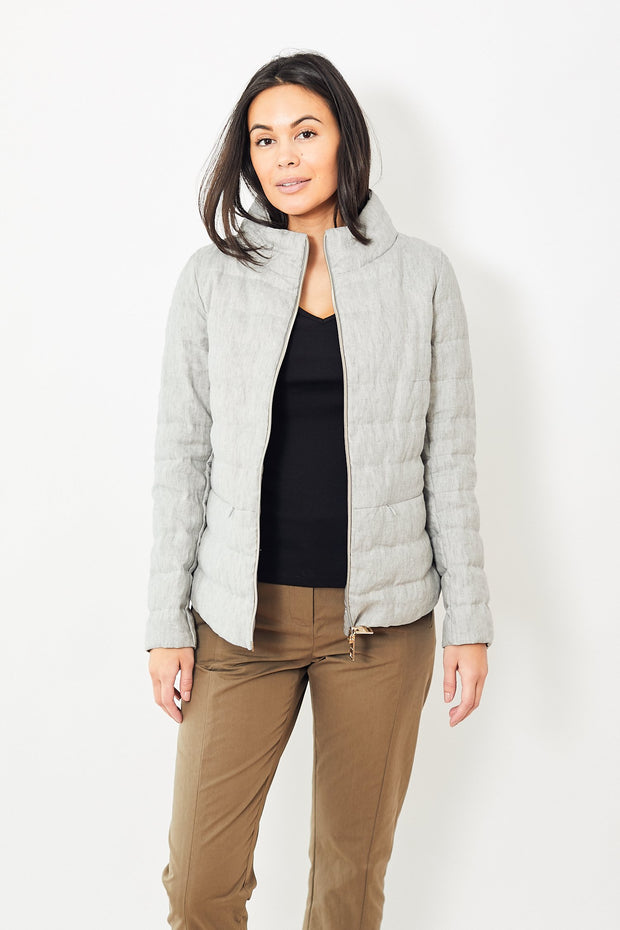 Linen/Down Shirttail Jacket w/ Side Zip Grey