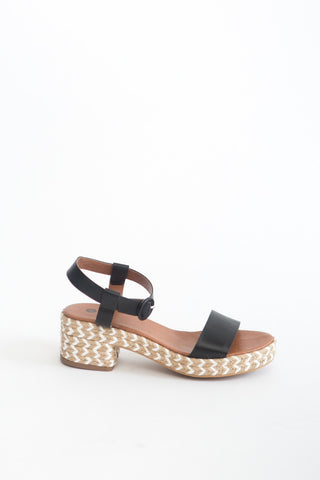 Hudson London Raffia Black Sandal