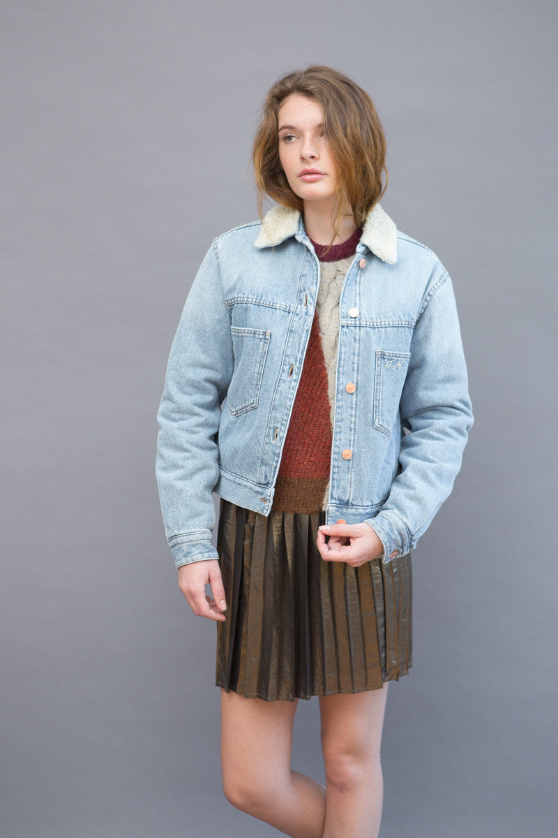 Isabel Marant Étoile Camden Embroidered Denim Jacket - grethen house