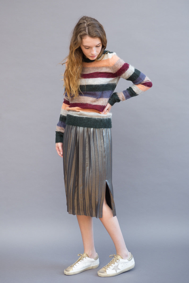Isabel Marant Étoile Malden Pleated Lame Knee Skirt - grethen house