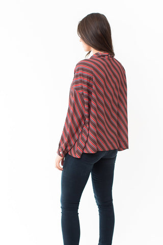 Jejia Iris Stripe Shirt with Tie