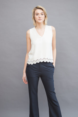 Jenni Kayne Scallop V Neck Shell