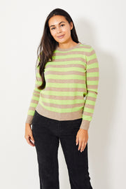 Jumper 1234 Button Neck Stripe Crew