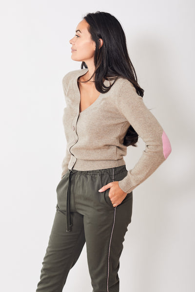 Jumper 1234 Elbow Patch V Neck Cardigan