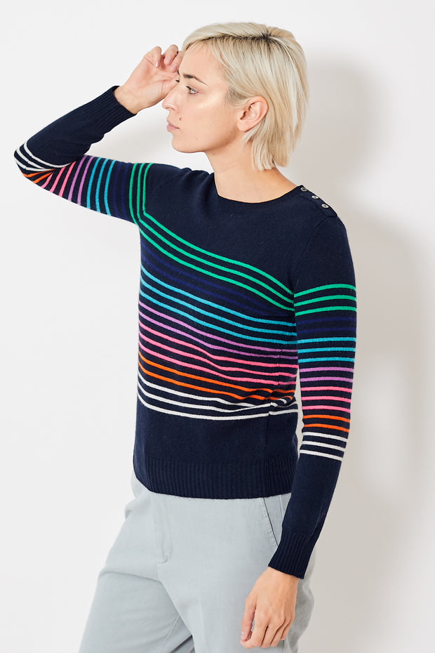 Jumper 1234 Multi Stripe Button Crew