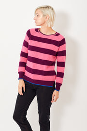 Jumper 1234 Wide Stripe Boyfriend Crew w/Tipped Hem