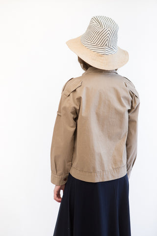 Tsuyumi Stripe Ticking/Jute Wide Brim Hat