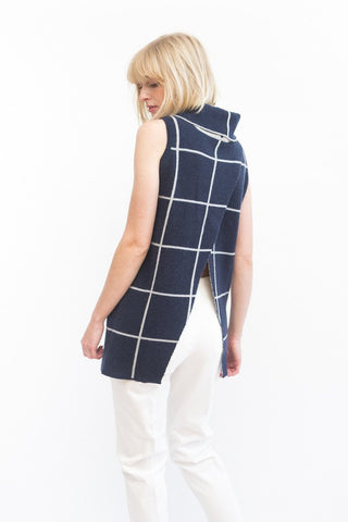Kokun Windowpane Vest Turtleneck